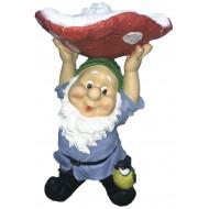 Гном с грибом на голове Садовая фигура