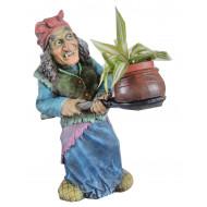 Баба Яга с кашпо Садовая фигура